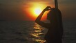 Silhouette happy beautiful young asian woman in sexy bikini on yacht cruise in summer holiday in the sea with sunset, girl on boat in travel trip in the evening with sunset, tropical in vacation.