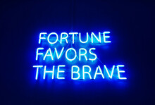 Close-up Of Neon Text On Wall ...
