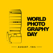 World Photography Day with camera outline art