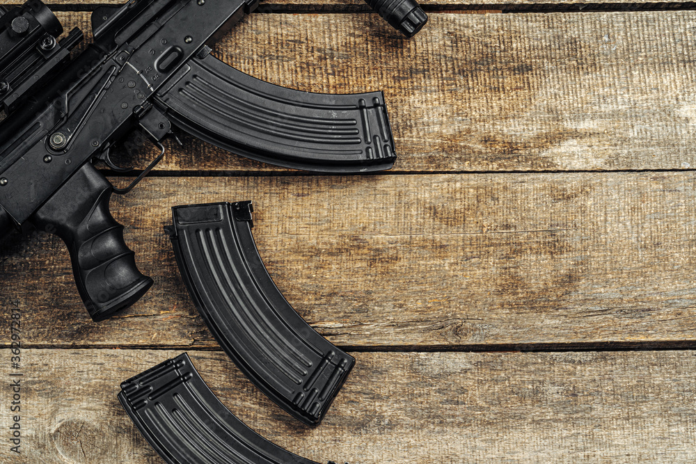 Fototapeta Russian automatic rifle Ak-47 close up, military weapon