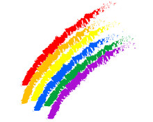Rainbow Drawing On An Old White Background