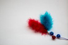 Red And Blue Feather With Bell...