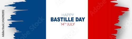 Fototapeta Bastille Day banner or header. July 14th France national holiday celebration. Blue, white, and red tricolor grunge french flag. Vector illustration with lettering. obraz