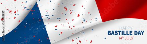 Fototapeta Bastille Day banner or header. July 14th France national holiday celebration. Blue, white, and red tricolor waving french flag. Vector illustration with lettering. obraz