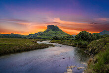 Twilight Over A Valley River I...