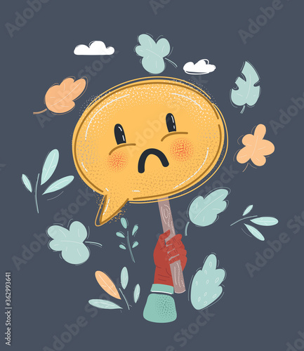 Vector illustration of cartoon drawn sad face on speech bubbles banner. Expression of discontent, sadness concept.