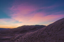 A Dramatic Sunset Lights Up The Sand Dunes Of The Mojave Desert. Kelso Dunes, Mojave National Park, California, USA