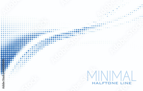 Obraz Blue halftone line on white background. Minimal vector pattern - fototapety do salonu