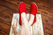 Ladies Leather Red Shoes Isolated Closeup