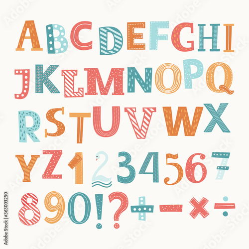 Fotografía Colorful vector English alphabet and numbers
