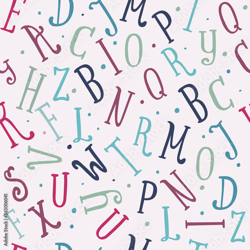 Fotomural Vintage color seamless pattern of funny letters isolated
