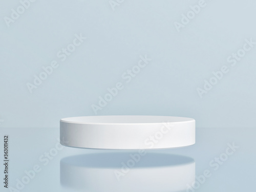 Photo Mockup the abstract geometric podium for product presentation, blue background,