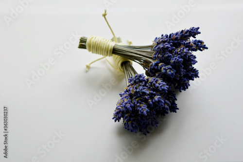 2 bundles of dried lavender on a white background Wallpaper Mural