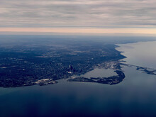 Aerial View Of City By Sea
