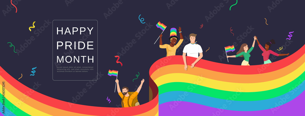 Fototapeta LGBTQ people celebrating happy pride month with colorful rainbow flags on banner background