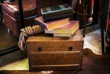 Rustic Books On Old Chest