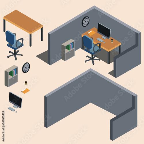 Canvastavla Isometric Office Cubicle