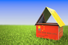 Flag Of China On Plastic Bank ...