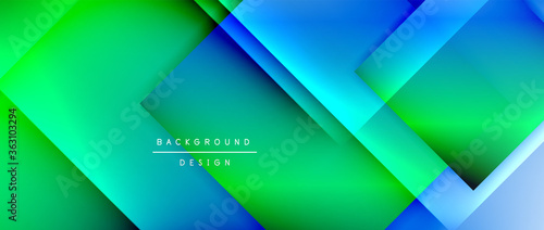 Obraz Square shapes composition, fluid gradient geometric abstract background. 3D shadow effects, modern design template - fototapety do salonu