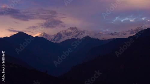 Fototapeta Scenic View Of Silhouette Mountains Against Sky At Sunset obraz na płótnie