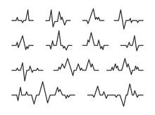 Heart Beat Diagram Lines Set. ...