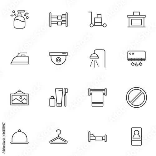 Cuadros en Lienzo Hotel line icons set, outline vector symbol collection, linear style pictogram pack