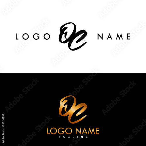 Obraz OC Initial Simple And Gold Handwritten Logo Vector Design. - fototapety do salonu