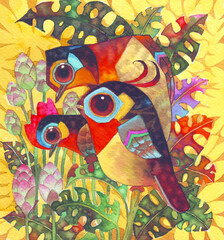 Fototapeta Ptaki The three fantasy birds in colorful forest.Beauty illustration watercolor for nature card,greeting card,background,pattern,textile,printing,picture book illust,advertising,banner,birds cartoon image.