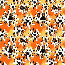 Seamless Endless Hand Drawn Flowers With Leopard Skin Vector Pattern Tie Dye Gradient Colors Background