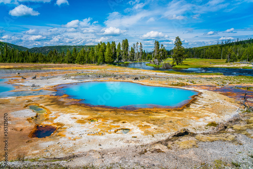 The colorful hot spring pools in Yellowstone National Park, Wyoming. - 363121670