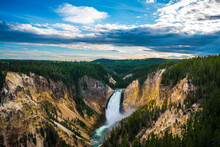 The Lower Fall In Yellowstone ...