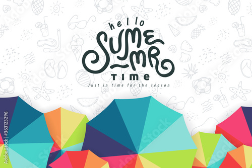 Fototapeta Summer text banner design with beach umbrella colorful on white background.Hand drawn elements for summer holiday. obraz