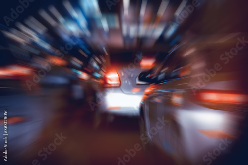 cars in the city road zoom movement / abstract blurred background, urban transpo Wallpaper Mural