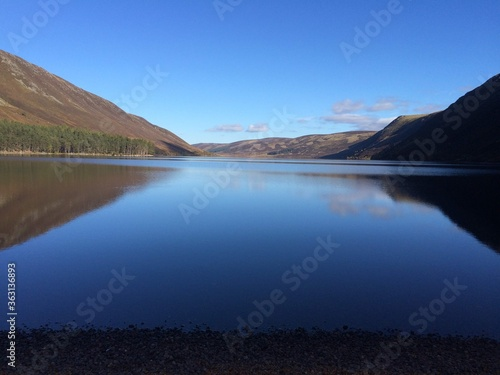 Fotografiet Scenic View Of Lake Against Blue Sky
