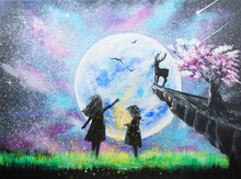 Acrylic Painting Of Two Girls ...