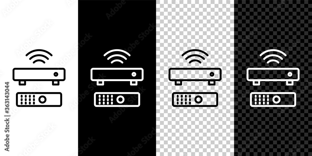 Fototapeta Set line Wireless multimedia and TV box receiver and player with remote controller icon isolated on black and white background. Vector.