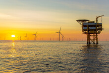 Beautiful Sunset At The North Sea Offshore Wind Farm