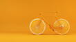 Leinwanddruck Bild - Health concept bike with orange wheels 3d rendering background