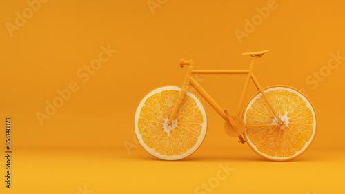 Health concept bike with orange wheels 3d rendering background
