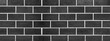 canvas print picture - Black anthracite gray grey dark seamless brick stone tiles wall texture background banner panorama panoramic