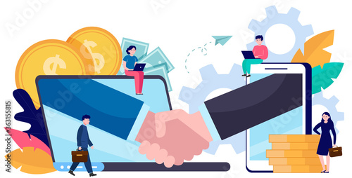 Fototapeta Tiny business people dealing online isolated flat vector illustration. Partners, sponsors and investors investing money in startup. Handshake, partnership and teamwork concept obraz