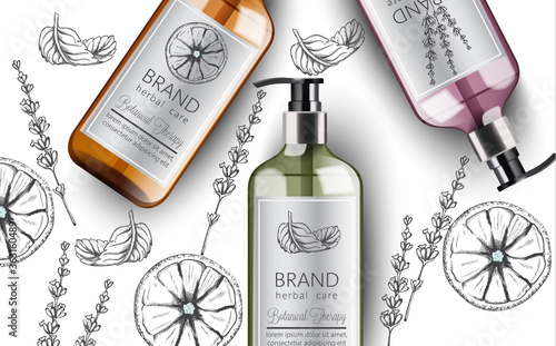 Composition of bottles of organic shampoo with herbal care. Various plants and colors. Mint, orange and lavender. Place for text