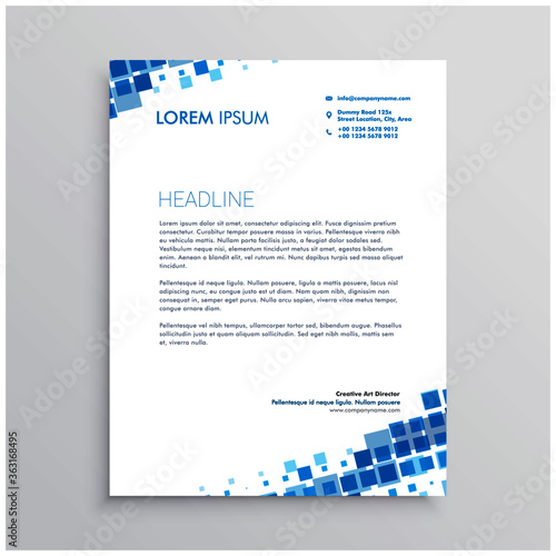 Fototapeta abstract blue creative letterhead design obraz