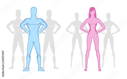 Photo Gender, healthy body and stylized man of a athletic anatomy type of man and woman