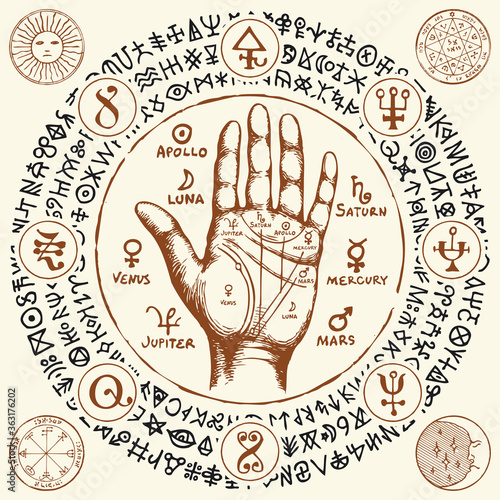 Fotografia Palmistry map on open palm with signs of the planets