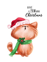 Cute Red Christmas Cat Greeting Card. Hand Drawn Cat Illustration