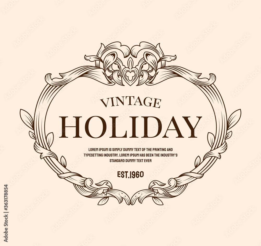 Fototapeta Hand drawn antique frame vintage label banner elegant flourishes vector illustration