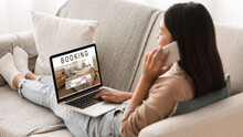 Girl Booking Hotel Online, Talking On Phone With Reservation Team