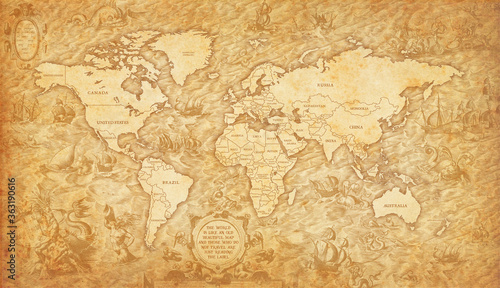 Fotografie, Obraz Old map of the world on a old parchment background