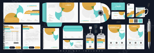 Fototapeta Corporate identity set branding template design kit. editable brand identity with abstract background color for Business Company and Finance Vector obraz
